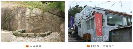 자주동샘(좌), 이화동마을박물관(우)