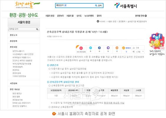 서울시 홈페이지 측정자료 공개 화면