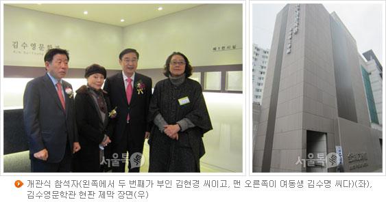 개관식 참석자(왼쪽에서 두 번째가 부인 김현경 씨이고, 맨 오른쪽이 여동생 김수명 씨다)(좌), 김수영문학관 현판 제막 장면(우)