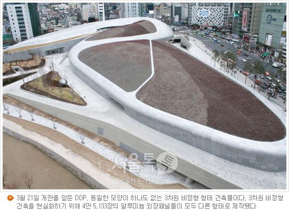 3월 21일 개관을 앞둔 DDP. 동일한 모양이 하나도 없는 3차원 비정형 형태 건축물이다. 3차원 비정형 건축을 현실화하기 위해 4만 5,133장의 알루미늄 외장패널들이 모두 다른 형태로 제작됐다