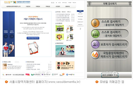 서울시광역치매센터 홈페이지(www.seouldementia.kr), 모바일 치매검진 앱
