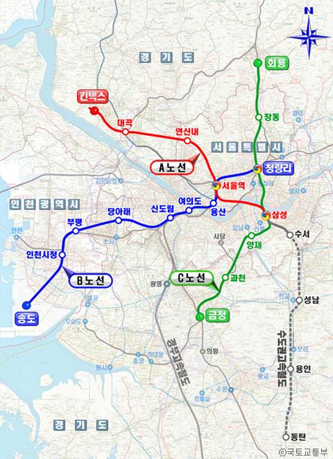 GTX 노선도 (노선과 역 위치는 변경 가능함) ⓒ국토교통부