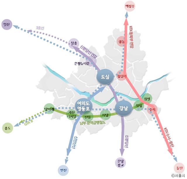 서울시가 제안한 남부급행철도와 KTX동북부 연장 ⓒ서울시
