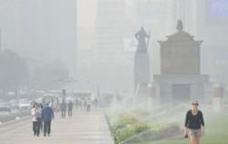 초미세먼지로 뿌옇게 변한 서울 도심 모습