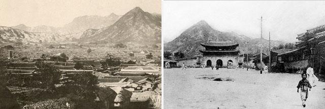 서울 전경 <조선국진경>(1892), 광화문 거리, 개수 전(1905)
