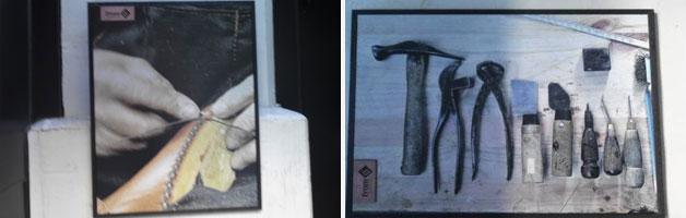 수제화 제작과정과 연장을 촬영한 사진이 매장에 걸려있다
