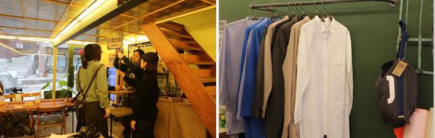 각종 디자인의 소품, 옷가지 등이 가게 안에 걸려 있다