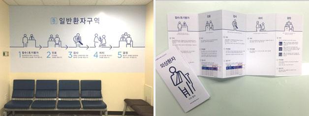 일반 환자 구역 벽면 스티커(좌),  외상 환자 여정 지도(우)