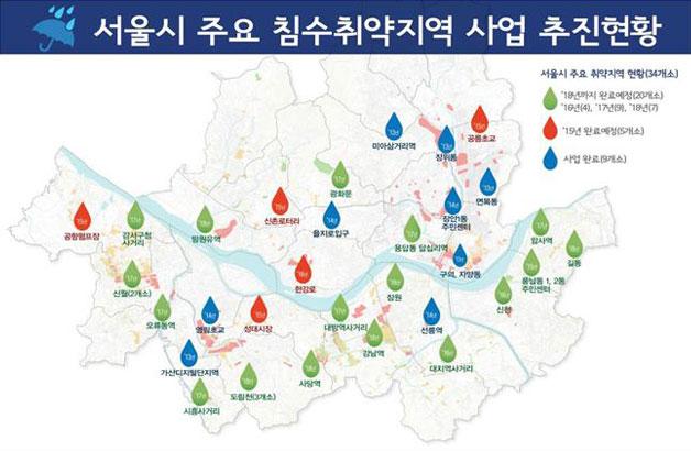 서울시 주요 침수취약지역 사업 추진형황