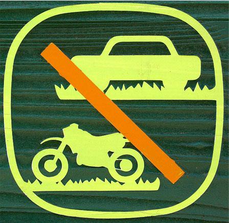 자동차, 오토바이 입장 금지 표식