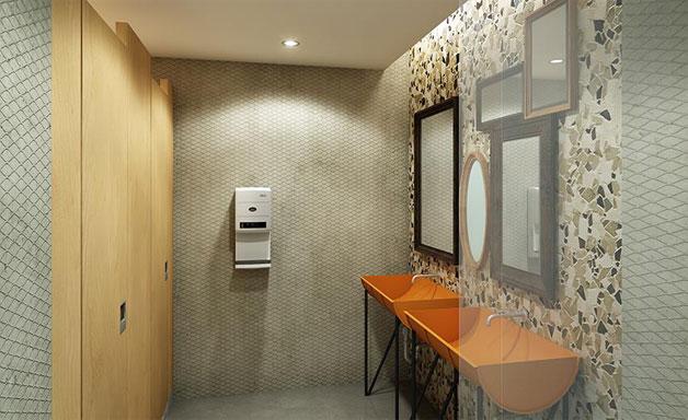 폐드럼 세면기와 깨진 타일 벽면, 중고 거울 등으로 꾸민 `서울재사용플라자`의 화장실