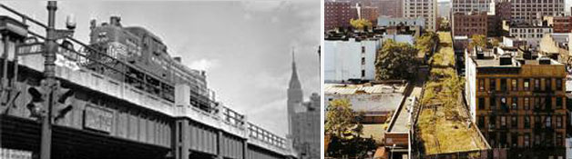 뉴욕 사례-과거 철도로 이용할 당시 모습과 방치된 모습