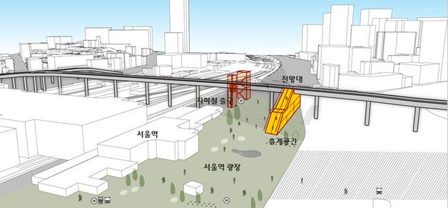 서울역광장(계단, 에스컬레이터 등 광장과 고가연결)