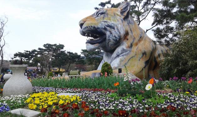 동물원 입구 호랑이상과 화려한 봄꽃