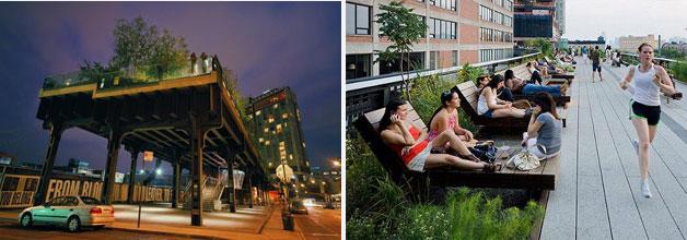 뉴욕 사례-현재 하부에서 바라본 고가공원 모습과 상부 공원 이용 모습