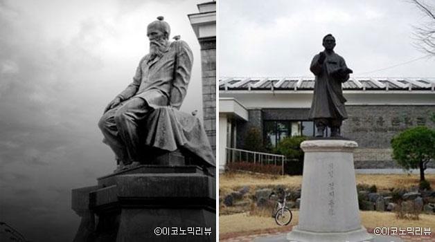 도스토옙스키의 동상(좌), 시인 정지용 동상(정윤수 교수 제공)ⓒ이코노믹리뷰