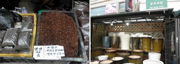 종로꽃시장에서는 흙과 화분도 함께 판매하고 있다