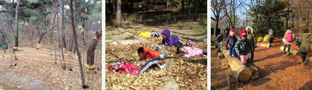남산공원 유아숲체험장 왼쪽부터 스파이더맨(밧줄놀이), 낙엽 미끄럼틀, 기차모양 야외학습장