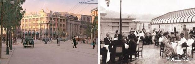 미스코시 백화점 전경(좌), 미스코시 백화점 옥상의 카페(우)(사진=박은숙 교수 제공)ⓒ이코노믹리뷰