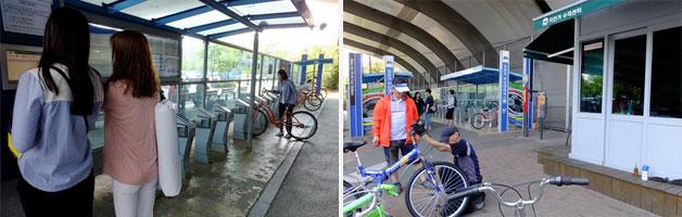 월드컵공원 앞 자전거 대여소(좌), 자전거 대여소에 같이 있는 수리점(우)