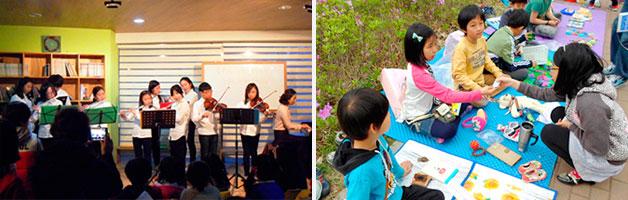 진관초등학교 어린이 오케스트라의 캔들데이 공연 모습(좌), 어린이들도 판매자로 나섰던 물푸레 벼룩시장(우)