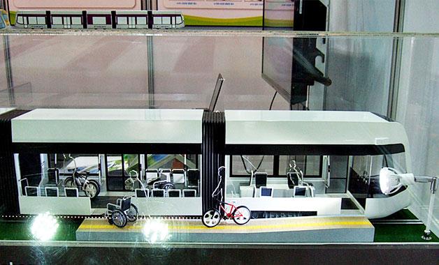 무가선트램 차량의 모형
