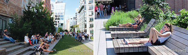 고가를 이용한 대표적인 도시재생 사례인 뉴욕의 하이라인 파크 풍경. 보행로이자 시민들의 안식처로 사랑받고 있다 ⓒAlex Correa(좌) ⓒDavid Berkowitz(우)