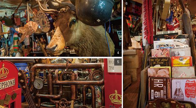 ④ 현재 다모아 내에서 가장 비싼 몸값을 자랑하는 엘크 박제품 ⑤ 남아프리카공화국에서 주문 제작해 들여온 장식용 금속 조형물 ⑥ 80여 종을 보유하고 있는 벽걸이 장식품