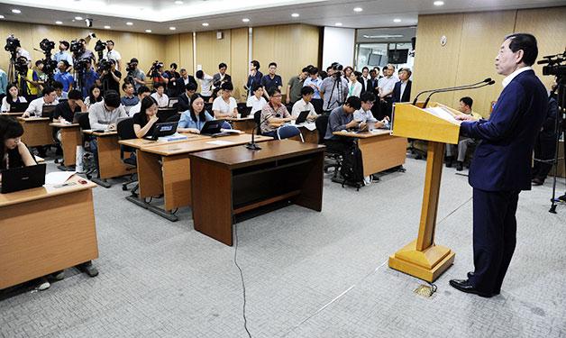 1일 오전 서울시청에서 민선6기 취임 1주년 기자회견을 하고 있는 박원순 서울시장.