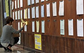 대학교 학생회관에서 한 학생이 취업게시판 정보를 확인하고 있다ⓒ뉴시스