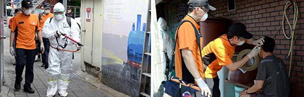 지난달 16일 서울시 의용소방대의 쪽방촌 등 소독작업과 소외계층 대상 건강체크