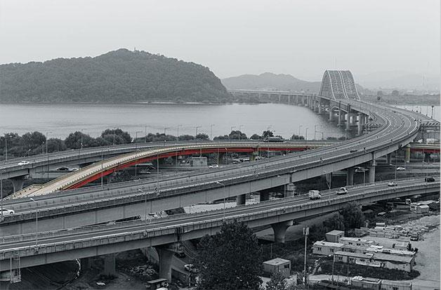 올림픽대로→방화터널 접속도로(색깔로 표시)