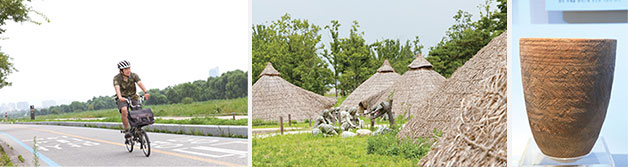 3-1코스 둘레길은 걷기에도 좋고, 자전거 타기에도 좋다(좌), `서울 암사동 유적`에 복원된 신석기인들의 움집과 빗살무늬토기(우)