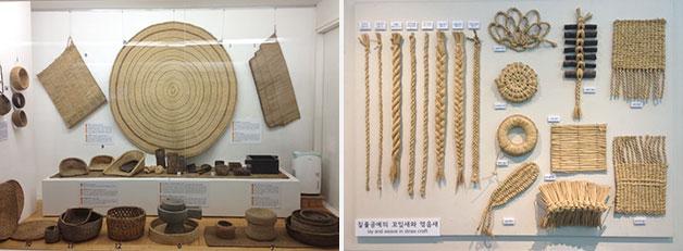 짚풀로 만든 농기구와 공예품들이 전시되어 있다