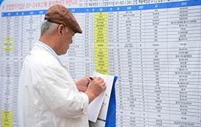 지난해 열린 `베이비부머 일자리 엑스포`에서 한 참가자가 채용게시판을 확인하고 있다.ⓒ뉴시스