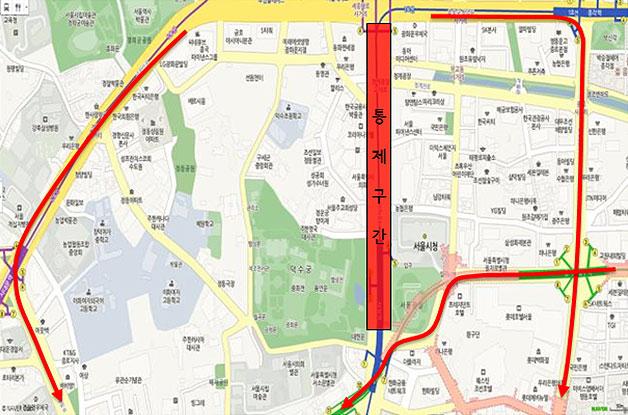 세종대로 차 없는 날 교통통제 구간 (세종로사거리⇔시청앞 : 양방향)