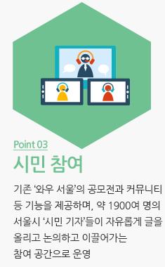 시민참여: 기존 '와우 서울'의 공모전과 커뮤니티등 기능을 제공하며, 약 1900여 명의 서울시 '시민 기자'들이 자유롭게 글을 올리고 논의하고 이끌어가는 참여 공간으로 운영