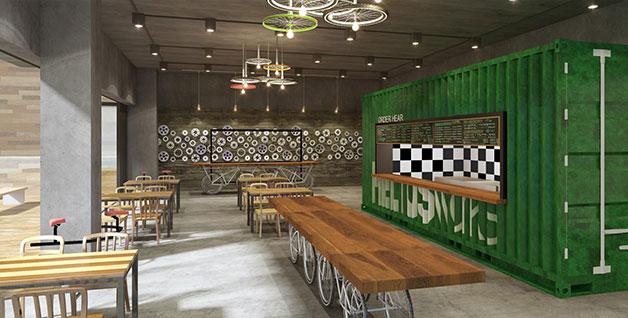 2017년 장안평 일대에 들어설 '서울재사용플라자' 내 카페 모습, 폐자전거로 전체적인 인테리어를 꾸몄다. 버려지는 자원을 완전히 새로운 제품으로 재탄생시키는 `업사이클`, 이를 디자인하는 `전문 업사이클러`가 미래형 신 직업군으로 주목받고 있다.