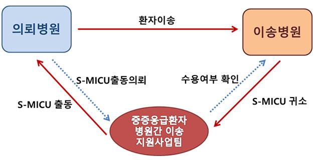`서울형 중증환자 병원간 이송서비스` 사업 체계도