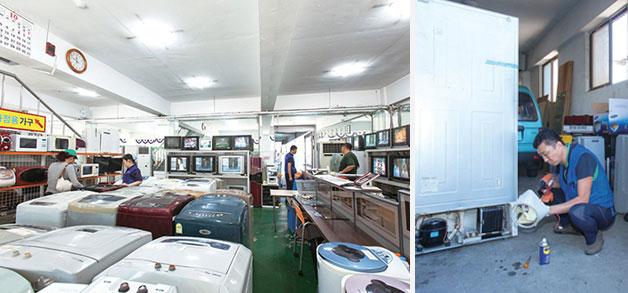 거의 모든 종류의 가전제품을 만나볼 수 있는 중랑구재활용센터(좌), 중랑구재활용센터는 사후 서비스를 강화해 재활용 가전제품에 대한 시민 만족도를 높이고 있다(우)