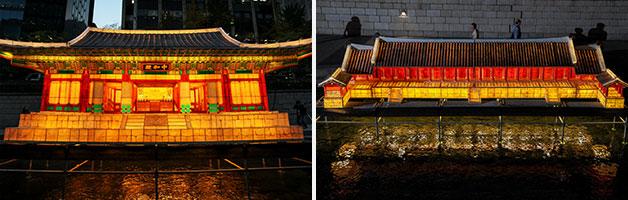 서울을 대표하는 문화유산. 중화전(좌)과 종묘정전(우)