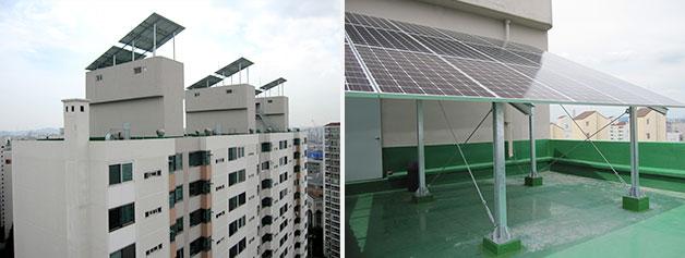 동작구 신대방동 현대아파트 옥상에 설치된 102.6kW 용량의 태양광발전소