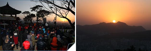 성동구 응봉산 팔각정(좌), 은평구 봉산 해맞이공원(우)