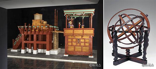 국립고궁박물관에 전시된 자격루(좌)ⓒ뉴시스, 혼천의(우)ⓒ뉴시스