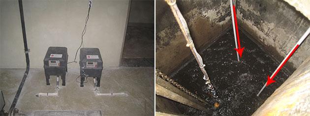 공기공급장치 설치된 정화조(좌), 배수조에 공기공급하는 모습(우)