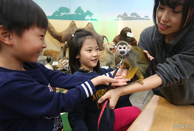 원숭이대탐험 체험에 참여한 어린이들 ⓒ연합뉴스