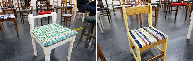 양말목 방석으로 아름답게 변신한 의자