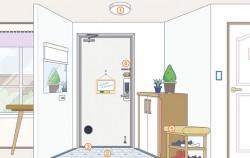 현관 부분 디자인적용 예시 : 센서등, 미끄럼 방지, 문턱제거, 문손잡이, 메모판, 앉을 수 있는 의자, 거울 블라인드 등