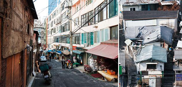 1971년에 지은 1세대, 아파트 성요셉아파트(좌). 전형적 달동네인 호박마을(우).