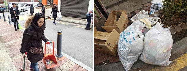 쓰레기 수거 활동을 하는 주민들(좌), 이날 수거한 쓰레기(우)